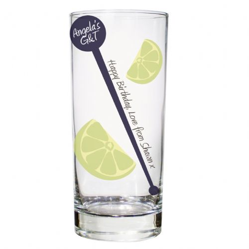 Personalised Lime & Stirrer Hi-Ball Glass
